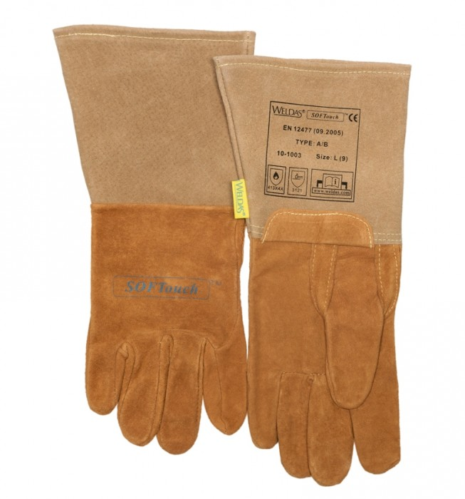 Image showing the flat lay of the welding gloves