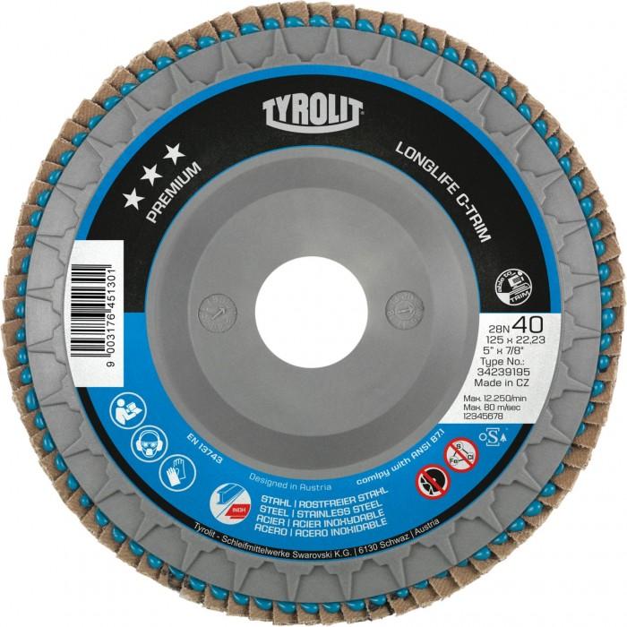 "Tyrolit Premium*** Longlife C-Trim Flap Disc 40 Grit 115mm (4 1/2"") - Box of 10"