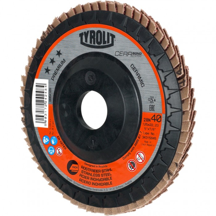 "Tyrolit *** Premium Longlife C-Trim Ceramic Grain Flap Disc 60 Grit 115mm (4 1/2"") - PKT5"