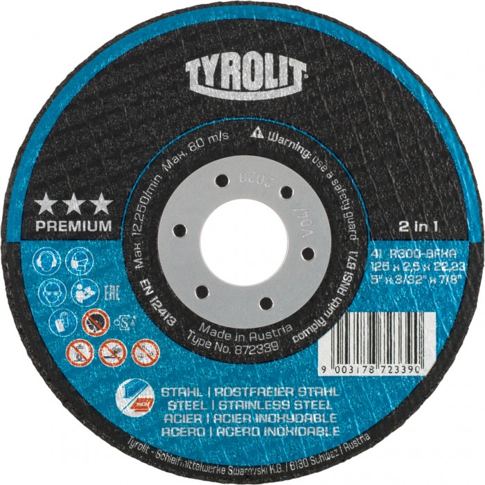 "Tyrolit Tyrolution Premium *** 2-in-1 super-thin cut-off disc cutting wheels 115mm (4 1/2"") x 1 - BOX 25"