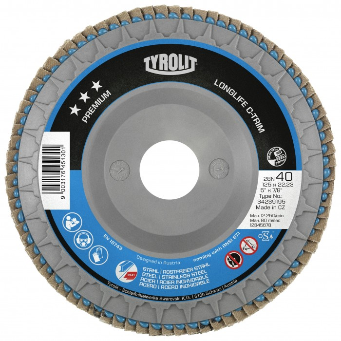 Tyrolit Premium*** Longlife C-trim Flap Disc - 80 Grain - Box of 10