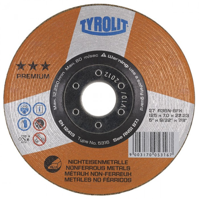 Tyrolit PREMIUM*** Rough Grinding Wheels for Non-Ferrous Metals