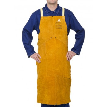 Weldas Golden Brown™ split cow leather welding bib apron with self-balancing strap system