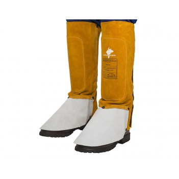 Weldas Golden Brown™ split cow leather welding spats (pair), 36 cm long