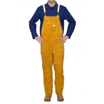 Weldas Golden Brown™ split cow leather welding pants with brest protection