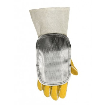 Weldas High heat reflective aluminized handshield with leather back
