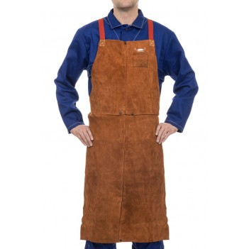 Weldas Lava Brown™ split cow leather welding bib apron