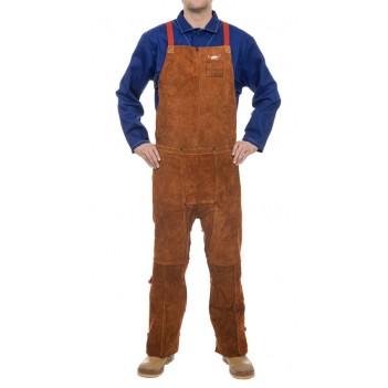 Weldas Lava Brown™ split leg welding bib apron made of split cow leather