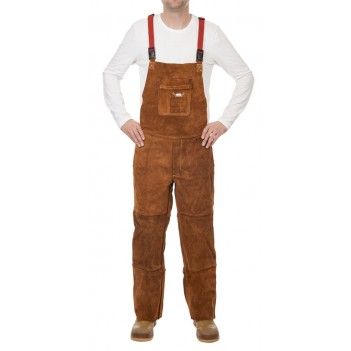 Weldas Lava Brown™ split cow leather welding pants with brest protection and closed back