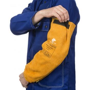 Weldas Golden Brown™ split cow leather welding sleeves (pair)